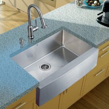 "<strong>Vigo</strong> 33"" x 22.25"" Farmhouse Kitchen Sink with Faucet, Strainer and Dispenser"