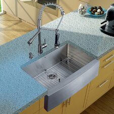 "33"" x 27"" Farmhouse Kitchen Sink with Faucet, Grid, Strainer and Dispenser"