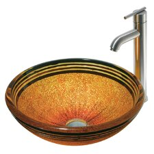 Tangerine Glass Bathroom Sink with Faucet