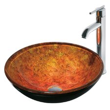 <strong>Vigo</strong> Livorno Glass Bathroom Sink with Faucet