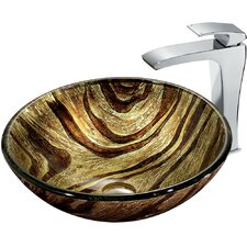 Zebra Vessel Sink with Faucet