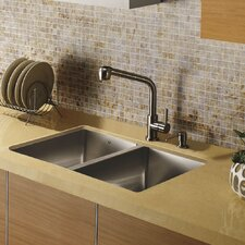 "29"" x 20"" Undermount Double Bowl Kitchen Sink with Faucet and Soap Dispenser"
