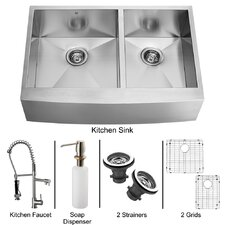 "36"" x 27"" Double Farmhouse Kitchen Sink with Faucet, Two Grids, Two Strainers and Dispenser"