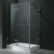 "<strong>Vigo</strong> 24"" Pivot Door Swing Frameless Shower Enclosure with Base"