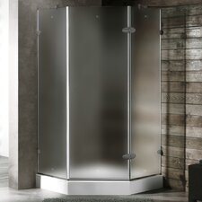 Neo-Angle Door Frameless Frosted Shower Enclosure with Base & Knob Handles and Left Handed Door