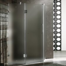 Frameless Frosted Neo-Angle Door Shower Enclosure with Low-Profile Base and Right Handed Door