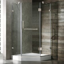 <strong>Vigo</strong> Frameless Clear Neo-Angle Door Shower Enclosure with Low-Profile Base