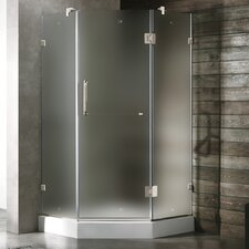 Frameless Frosted Neo-Angle Door Shower Enclosure with Low-Profile Base and Left Handed Door