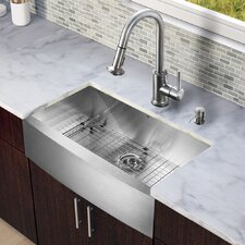"All in One 33"" x 22.25"" Farmhouse Kitchen Sink and Faucet Set"