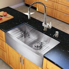 "All in One 36"" x 22.25"" Farmhouse Kitchen Sink and 18"" Faucet Set"