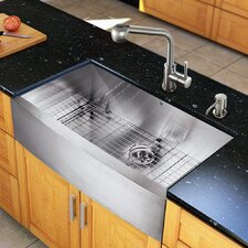 "All in One 36"" x 22.25"" Farmhouse Kitchen Sink and 13"" Faucet Set"