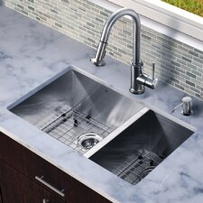 "All in One 29"" x 20"" Undermount Double Bowl Kitchen Sink with Faucet Set"