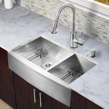 "All in One 36"" x 22.25"" Farmhouse Double Bowl Kitchen Sink with Faucet Set"
