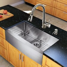 "<strong>Vigo</strong> All in One 33"" x 22.25"" Farmhouse Kitchen Sink with Faucet Set"