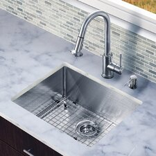 "All in One 23"" x 20"" Undermount Kitchen Sink with Faucet Set"