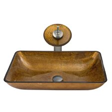 Rectangular Tempered Glass Bathroom Sink with Matching Waterfall Faucet