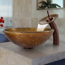 Textured Vessel Sink and Waterfall Faucet