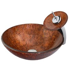 Mahogany Moon Vessel Sink with Waterfall Faucet