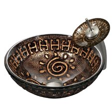 Aztec Vessel Sink with Waterfall Faucet