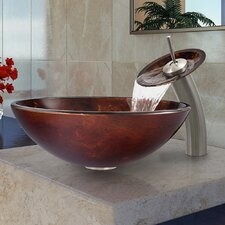 Fusion Glass Vessel Bathroom Sink with Waterfall Faucet