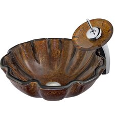 Walnut Shell Vessel Sink with Waterfall Faucet