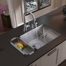 "30"" x 19"" Undermount Kitchen Sink with Faucet, Colander, Grid, Strainer and Dispenser"