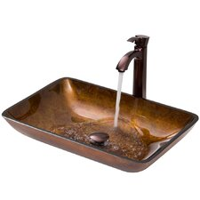 <strong>Vigo</strong> Glass Vessel Sink with Otis Faucet