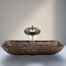 Golden Greek Glass Vessel Sink with Waterfall Faucet