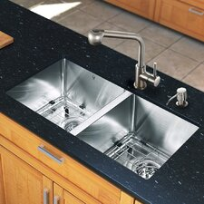 "<strong>Vigo</strong> 29.25"" x 18.5"" Zero Radius Double Bowl Kitchen Sink with Faucet"