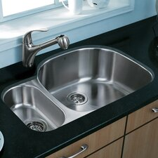 "31.75"" x 20.88"" Double Bowl D Shaped Undermount Kitchen Sink"