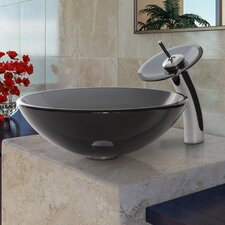 Glass Vessel Sink with Waterfall Faucet