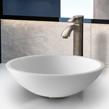 <strong>Vigo</strong> Phoenix Flat Edged Stone Glass Vessel Sink with Faucet