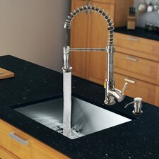 "23"" x 20"" Single Bowl Kitchen Sink with Sprayer Faucet"