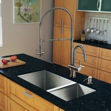 "<strong>Vigo</strong> 29"" x 20"" Zero Radius Double Bowl Kitchen Sink with Aerator Faucet"