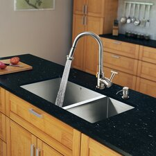 "29"" x 20"" Zero Radius Double Bowl Kitchen Sink with Pull-Out Sprayer Faucet"