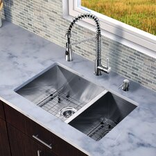 "29"" x 20"" Zero Radius Double Bowl Kitchen Sink with Sprayer Faucet"