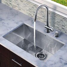 "30"" x 19"" Zero Radius Single Bowl Kitchen Sink with Pull-Out Faucet"