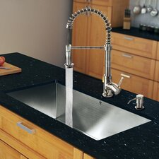 "32"" x 19"" Zero Radius Single Bowl Kitchen Sink with Sprayer Faucet"