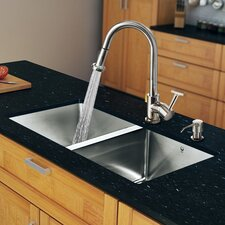 "<strong>Vigo</strong> 29.25"" x 18.5"" Zero Radius Double Bowl Kitchen Sink with Pull-Out Sprayer Faucet"