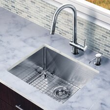 "23"" x 20"" Single Bowl Kitchen Sink with Pull-Out Faucet"