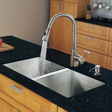 "32"" x 19"" Zero Radius Double Bowl Kitchen Sink with Pull-Out Sprayer Faucet"