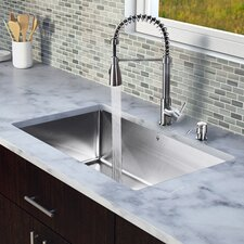 "<strong>Vigo</strong> 30"" x 19"" Single Bowl Kitchen Sink with Sprayer Faucet"