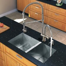 "32"" x 19"" Zero Radius Double Bowl Kitchen Sink with Aerator Faucet"