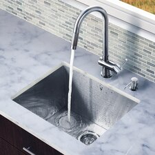 "23"" x 20"" Zero Radius Single Bowl Kitchen Sink with Pull-Out Faucet"