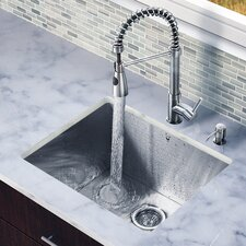 "<strong>Vigo</strong> 23"" x 20"" Zero Radius Single Bowl Kitchen Sink with Sprayer Faucet"