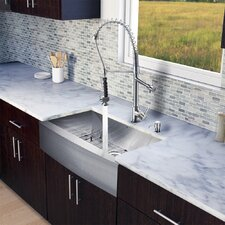"All in One 33"" x 27.25"" x 22.25"" Farmhouse Kitchen Sink and Faucet Set"