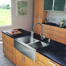 "All in One 33"" x 22.25"" x 16"" Farmhouse Double Bowl Kitchen Sink and Faucet Set"