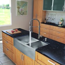 "All in One 36"" x 22.25"" Farmhouse Double Bowl Kitchen Sink and Faucet Set"