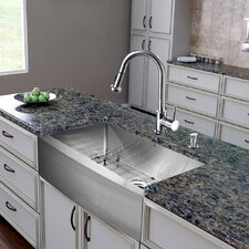 "All in One 36"" x 22.25"" x 15.12"" Farmhouse Kitchen Sink and Faucet Set"
