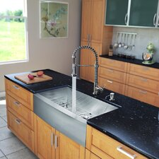 "All in One 36"" x 22.25"" 18.5"" Farmhouse Kitchen Sink and Faucet Set"